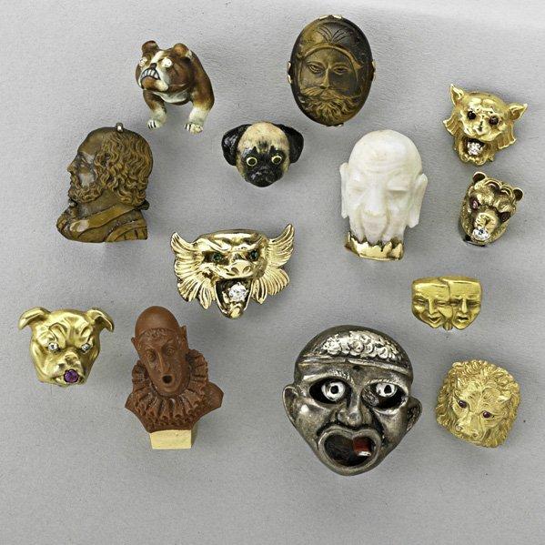 1023: THIRTEEN ANIMAL OR CHARACTER STICK PINS