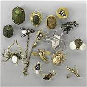 1025 SIXTEEN INSECT OR SCARAB STICK PINS 19TH20TH C
