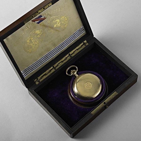 1162: FENCING TROPHY 18K GOLD POCKET WATCH, 1901