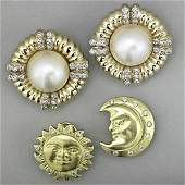1219 TWO PAIRS GOLD DIAMOND EARRINGS 20TH C