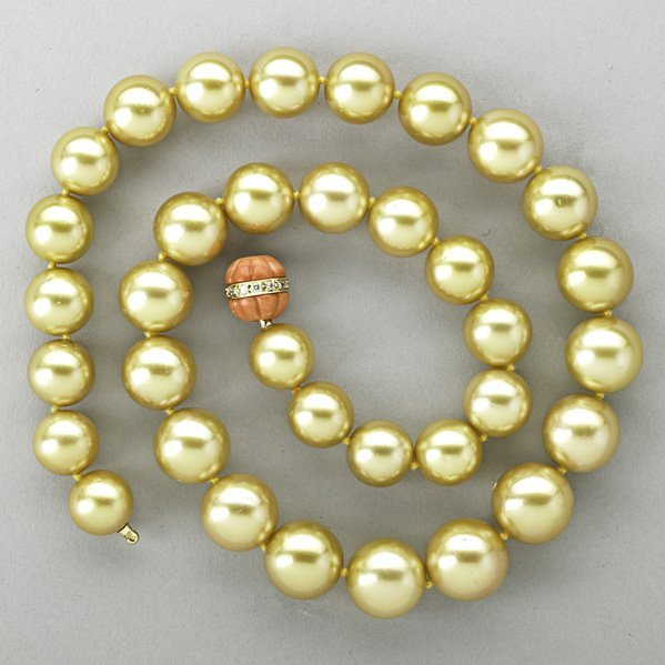 1225: GOLDEN SOUTH SEA PEARL AND CORAL NECKLACE
