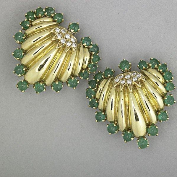 1273: 18K GOLD EMERALD AND DIAMOND EARRINGS