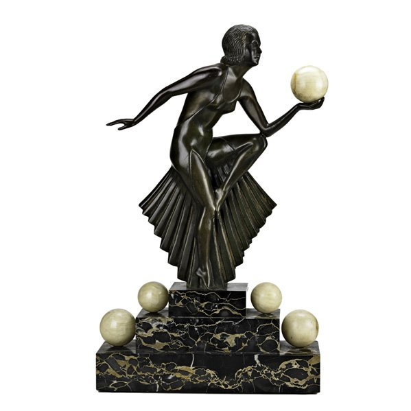 504: ART DECO BRONZE AND MARBLE FIGURE