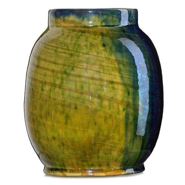 GEORGE OHR Glazed scroddled vase