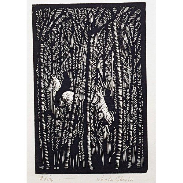 "WHARTON ESHERICK Woodblock print, ""Riding"""