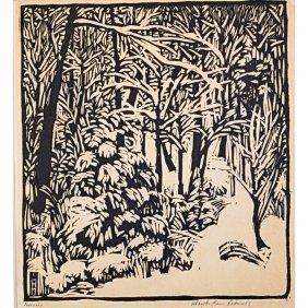 "WHARTON ESHERICK Woodblock Print, ""February"""