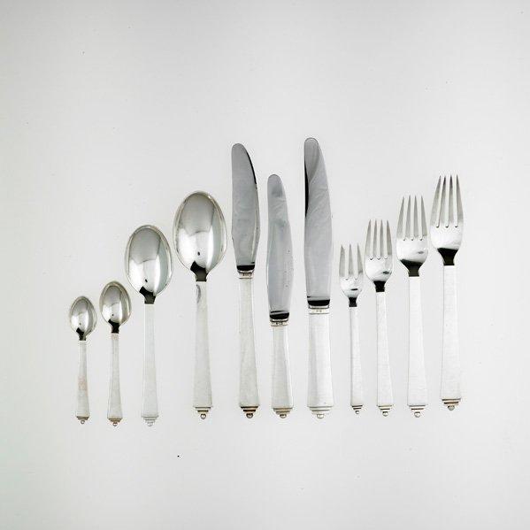 GEORG JENSEN Assembled sterling flatware set - 6