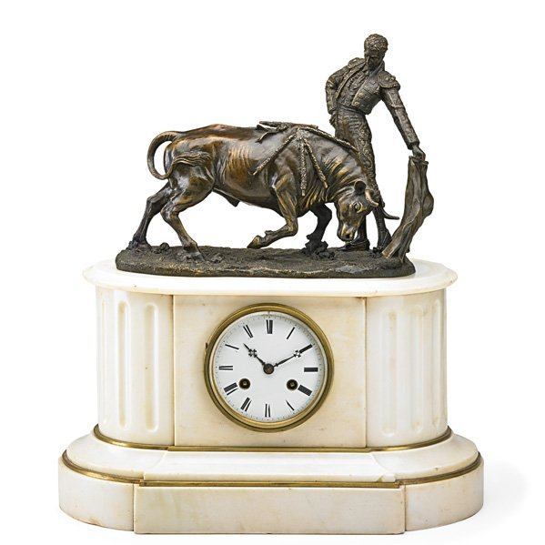 FRENCH BRONZE AND MARBLE MANTLE CLOCK