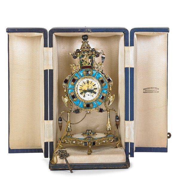 AUSTRIAN JEWELED MINIATURE CLOCK