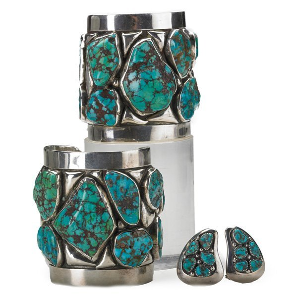 FRANK PATANIA TURQUOISE AND SILVER JEWELRY