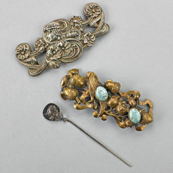 TWO ART NOUVEAU SASH ORNAMENTS AND A HAT PIN