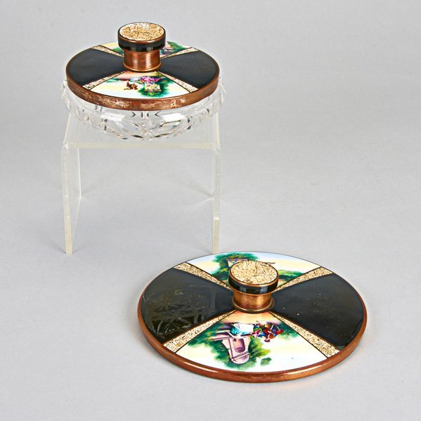 CONTINENTAL ENAMELED COPPER VANITY ITEMS