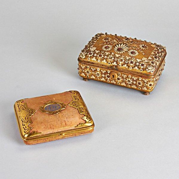 TIFFANY & CO. JEWELRY CASKET AND HANDKERCHIEF BOX