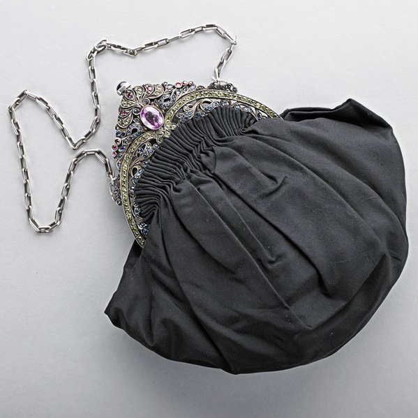 CONTINENTAL JEWELED SILVER EVENING BAG, ca. 1910