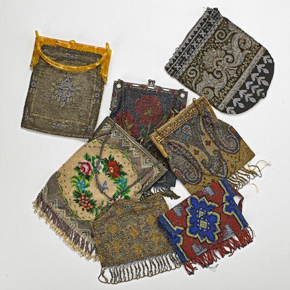 SEVEN CAVIAR BEADED EVENING BAGS, 1890-1920
