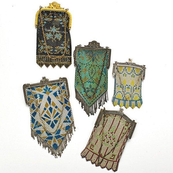 FIVE POLYCHROME ENAMELED MESH BAGS, ca. 1920