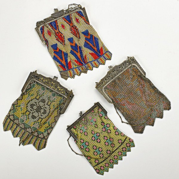 FOUR POLYCHROME ENAMELED MESH BAGS, ca. 1920