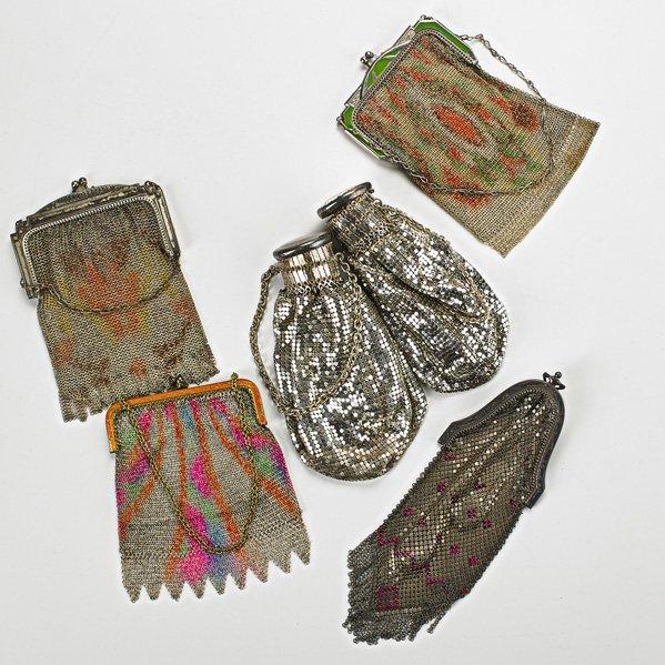 SIX MESH EVENING BAGS, 1920-1950