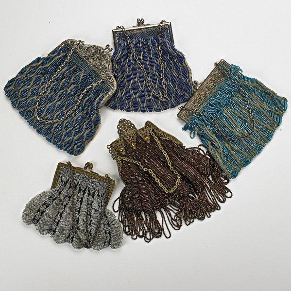 FIVE BEADED CROCHET EVENING BAGS, ca. 1910-1930