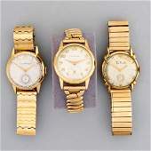 THREE GOLD OR GF MECHANICAL WRISTWATCHES