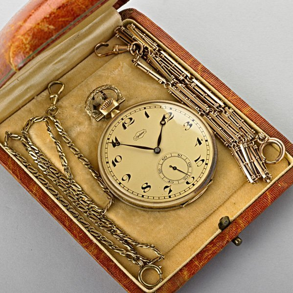 OPTIMA GOLD POCKET WATCH AND TWO GOLD WATCH CHAINS