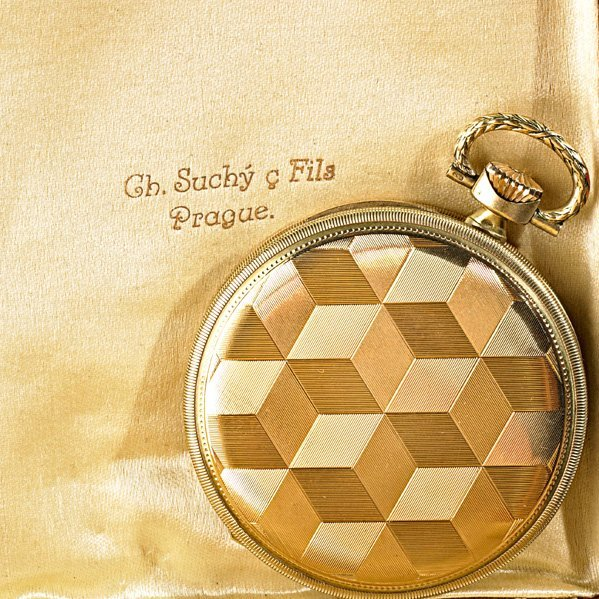 OPTIMA GOLD POCKET WATCH AND TWO GOLD WATCH CHAINS - 2