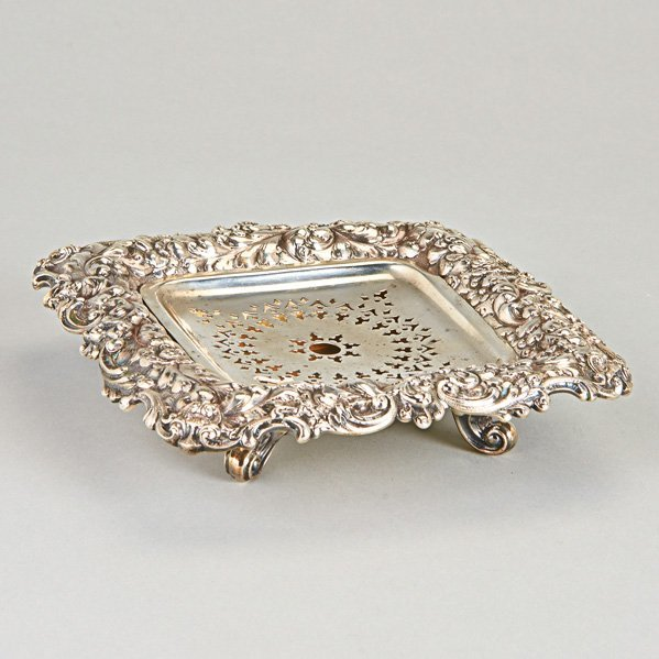 DURGIN STERLING REPOUSSE BUTTER DISH