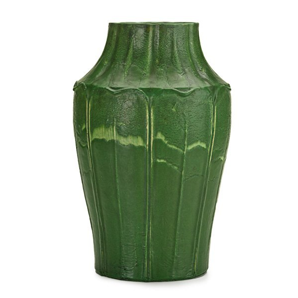 GRUEBY Rare and early vase carved with leaves