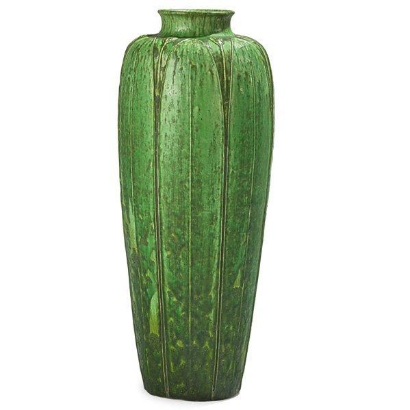GRUEBY Rare floor vase w/ leaves and buds