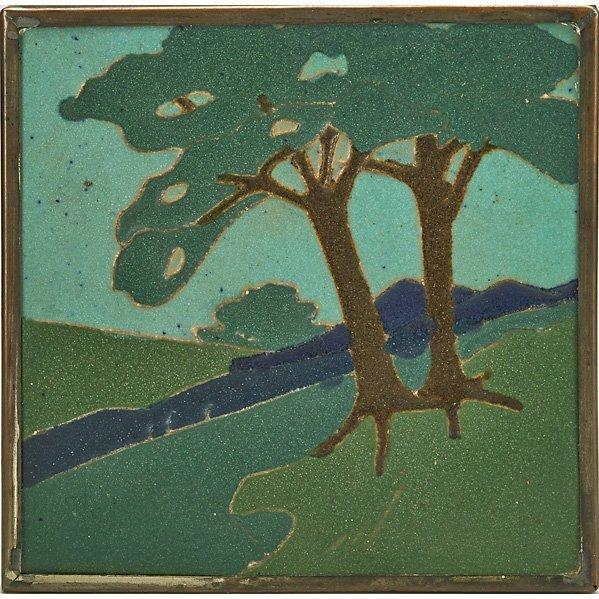VAN BRIGGLE Rare landscape tile