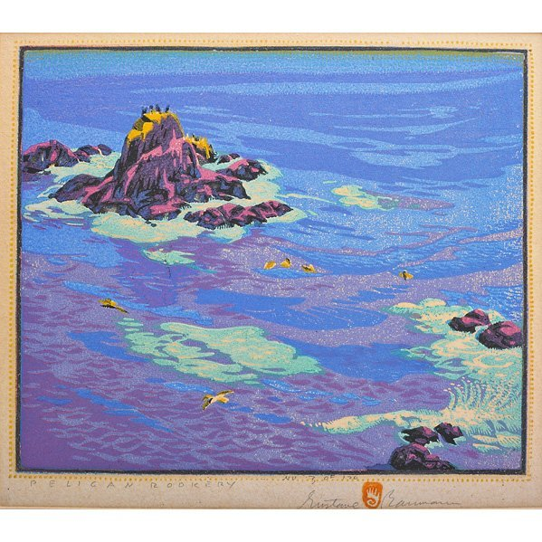 "GUSTAVE BAUMANN Woodblock print, ""Pelican Rookery"""