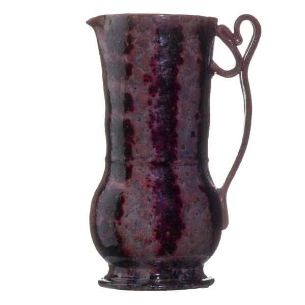 GEORGE OHR Fine and tall pitcher, ribbon handle