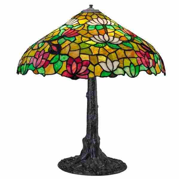 CHICAGO MOSAIC LAMP CO. Table lamp, lotus shade