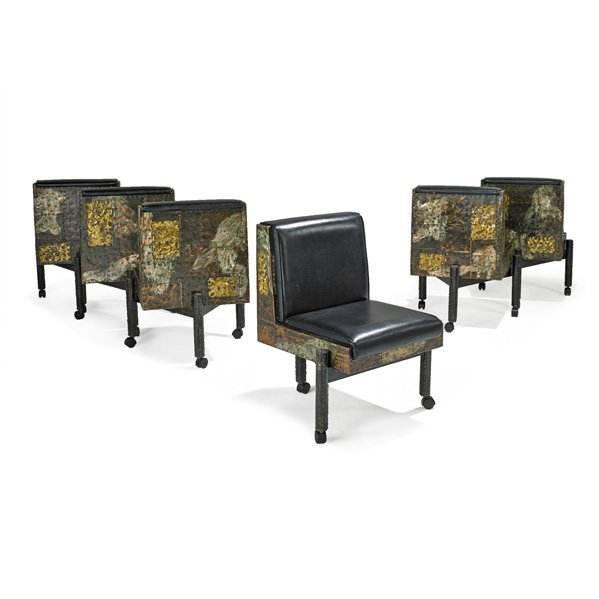 PAUL EVANS; DIRECTIONAL Set of six dining chairs