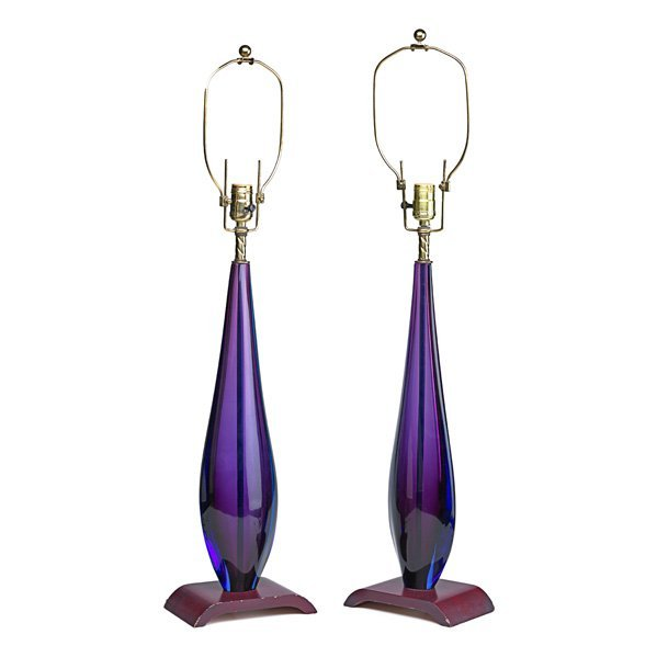 FLAVIO POLI Pair of sommerso glass table lamps