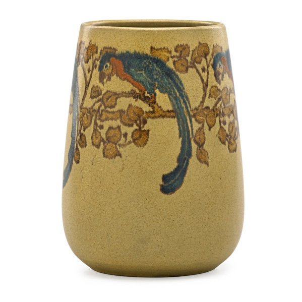 ARTHUR BAGGS; MARBLEHEAD Rare vase with parrots