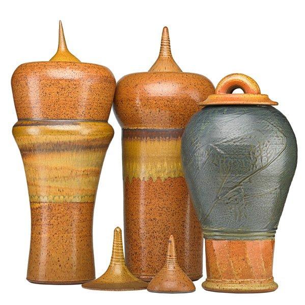 VAL CUSHING Three large lidded vessels, extra lids