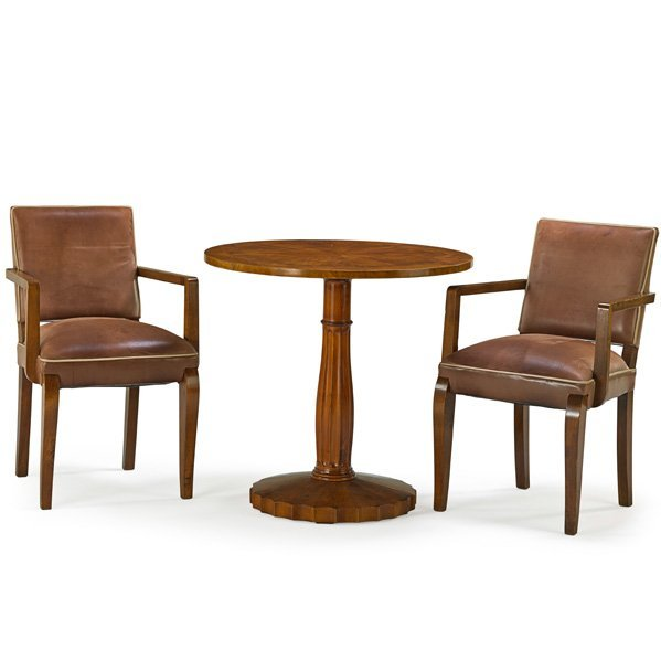 AUSTRIAN Breakfast table and two armchairs