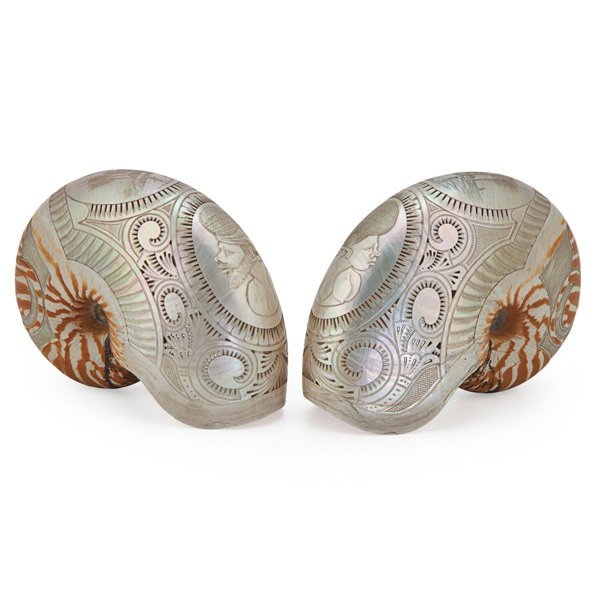 PAIR OF SOUTHEAST ASIAN CARVED NAUTILUS SHELLS