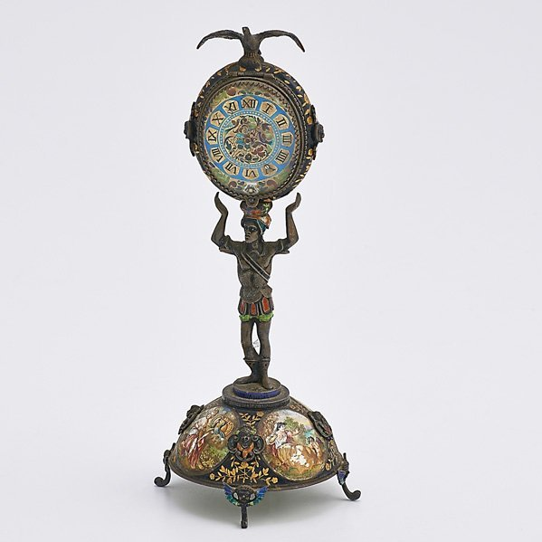 VIENNESE ENAMELED SILVER FIGURAL CLOCK