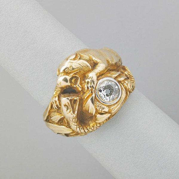 GUSTAV MANZ GOLD AND DIAMOND FIGURAL RING