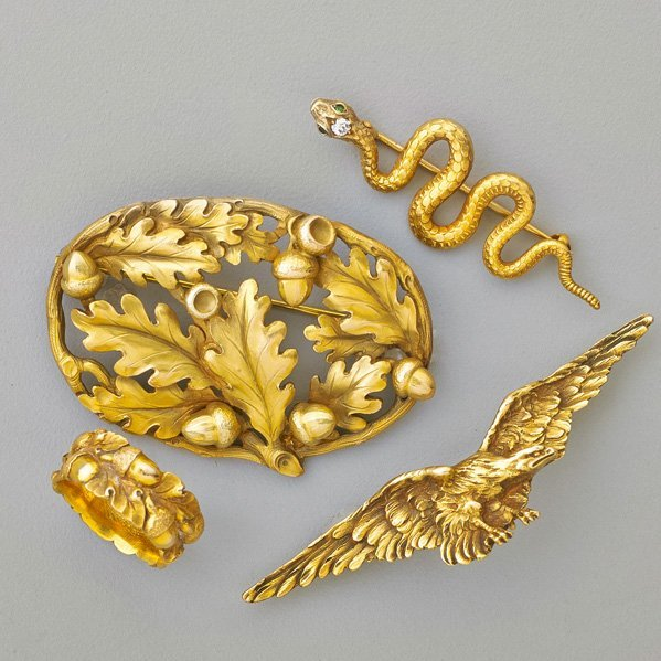 SCULPTED GOLD JEWELRY, POSSIBLY GUSTAV MANZ