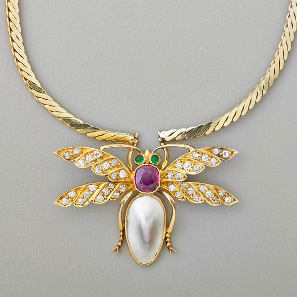 JEWELED 14K GOLD DRAGONFLY NECKLACE
