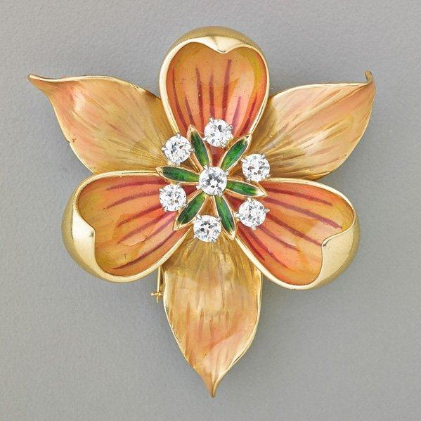 AMERICAN ENAMELED GOLD DIAMOND FLOWER FUR CLIP