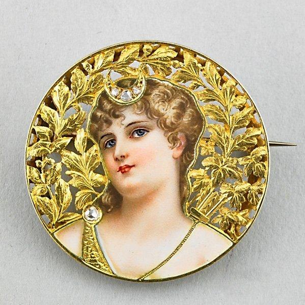 "ENAMELED 18K GOLD DIAMOND ""DIANA"" BROOCH"