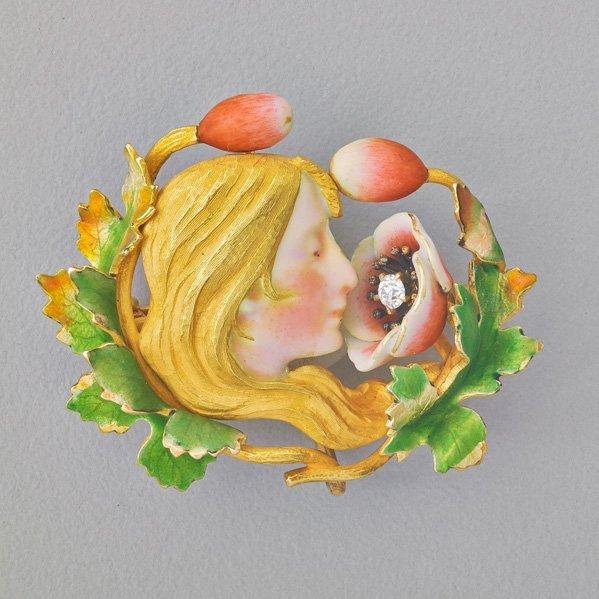 ART NOUVEAU ENAMELED GOLD DIAMOND POPPY WOMAN