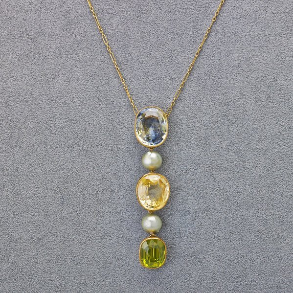 FANCY COLOR SAPPHIRE AND PERIDOT LAVALIER