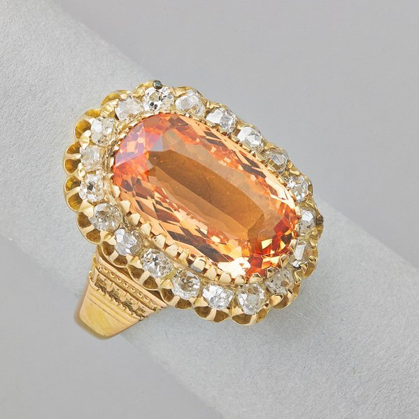 IMPERIAL TOPAZ AND DIAMOND 15K GOLD RING