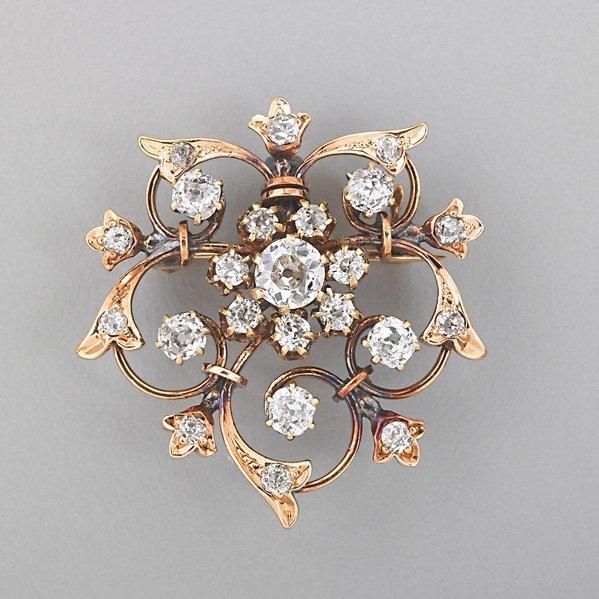 VICTORIAN DIAMOND SCROLL PENDANT BROOCH