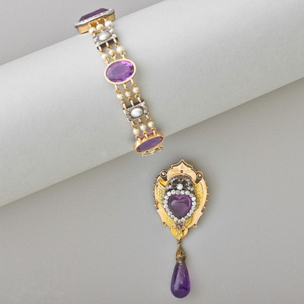 VICTORIAN AMETHYST AND DIAMOND GOLD JEWELRY